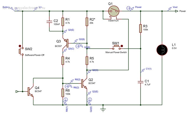 Push-On,Push-Off Power-Switching Circuit (VCC=0.9-1.5V) - идеальный ключ