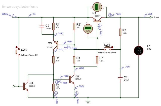 Push-On,Push-Off Power-Switching Circuit (VCC=0.9-1.5V) - неудачно