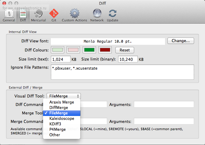 SourceTree merge tool preferences